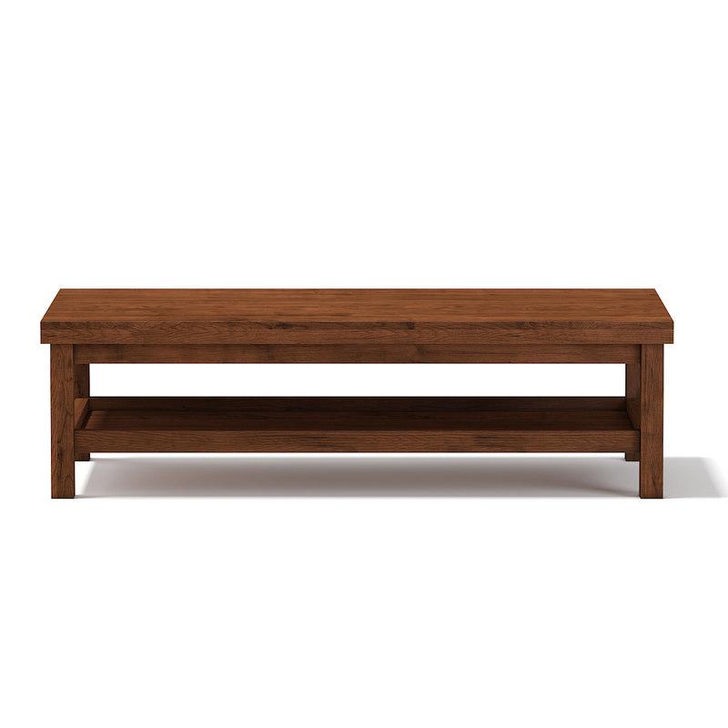 3d wooden rectangular coffee table model
