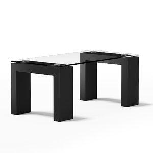 c4d glass rectangular coffee table