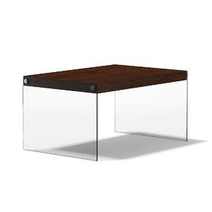 rectangular wooden coffee table 3d model