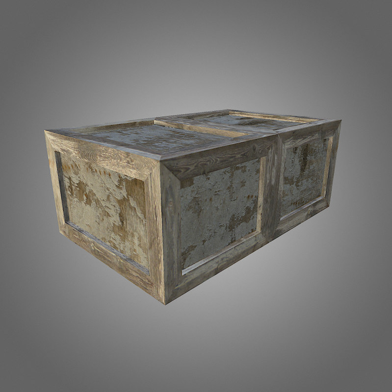 low-poly wooden crate 3d model