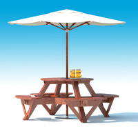 Garden Furniture: exterior Picnic deck Table with umbrella, Parasol and Beer for outdoor cafe or terrace