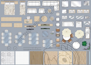 2d furniture floorplan top down view style 4 PSD