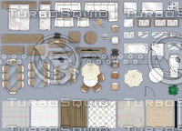 2d furniture floorplan, top-down view (style-2). PSD