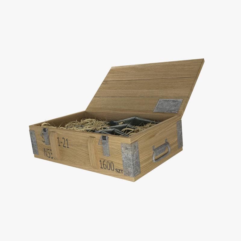 max military wooden ammunition box
