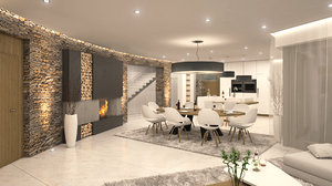 3d model luxury living room