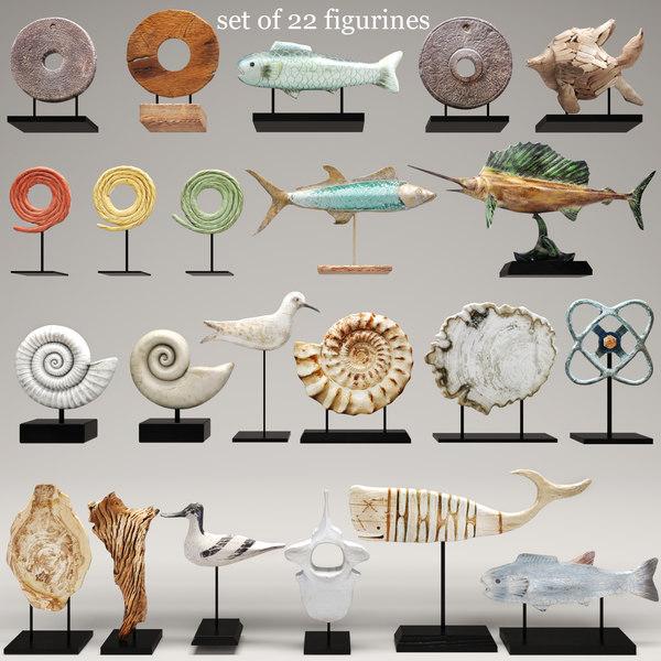 figurines sculpture fish 3d model