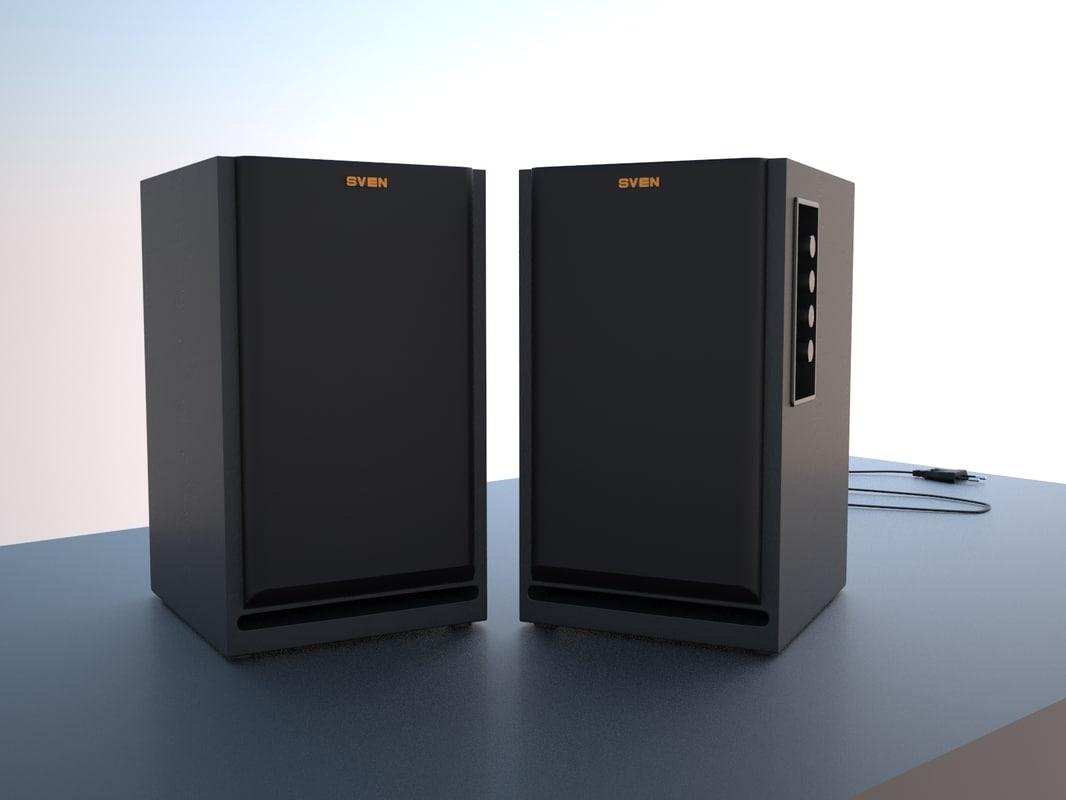 3d model of sven multimedia speaker sps-700