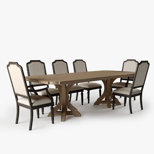 3d corsica rectangle pedestal dining table model
