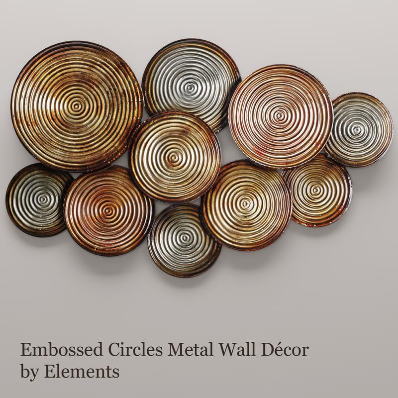 3d embossed circles metal wall