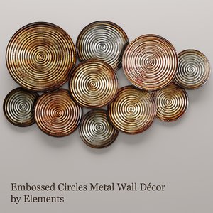 3d embossed circles metal wall