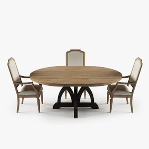 3d corsica dining table upholstered model