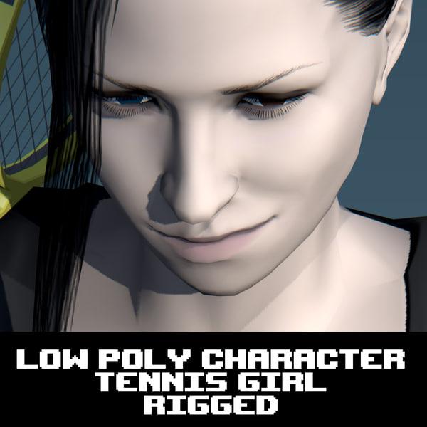 3d obj tennis character
