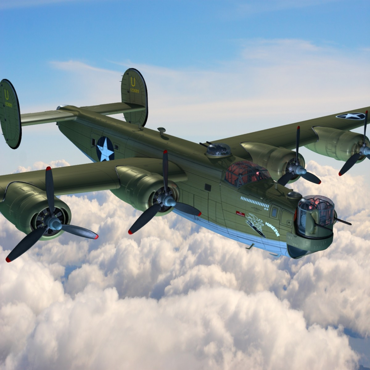 consolidated b-24 liberator american 3d lwo