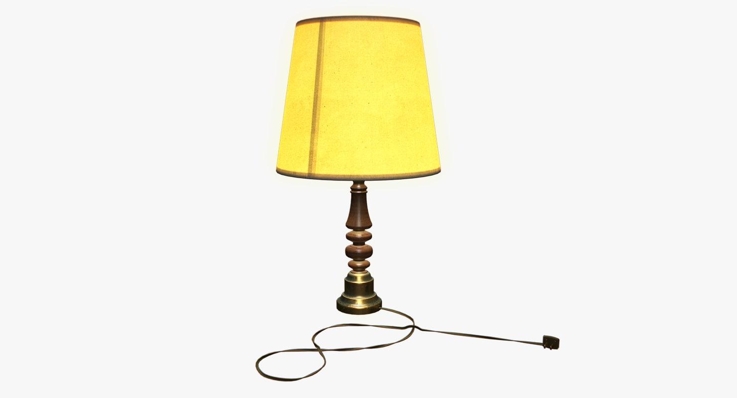old wood lamp 3d obj