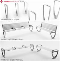 3d model bench bike rack