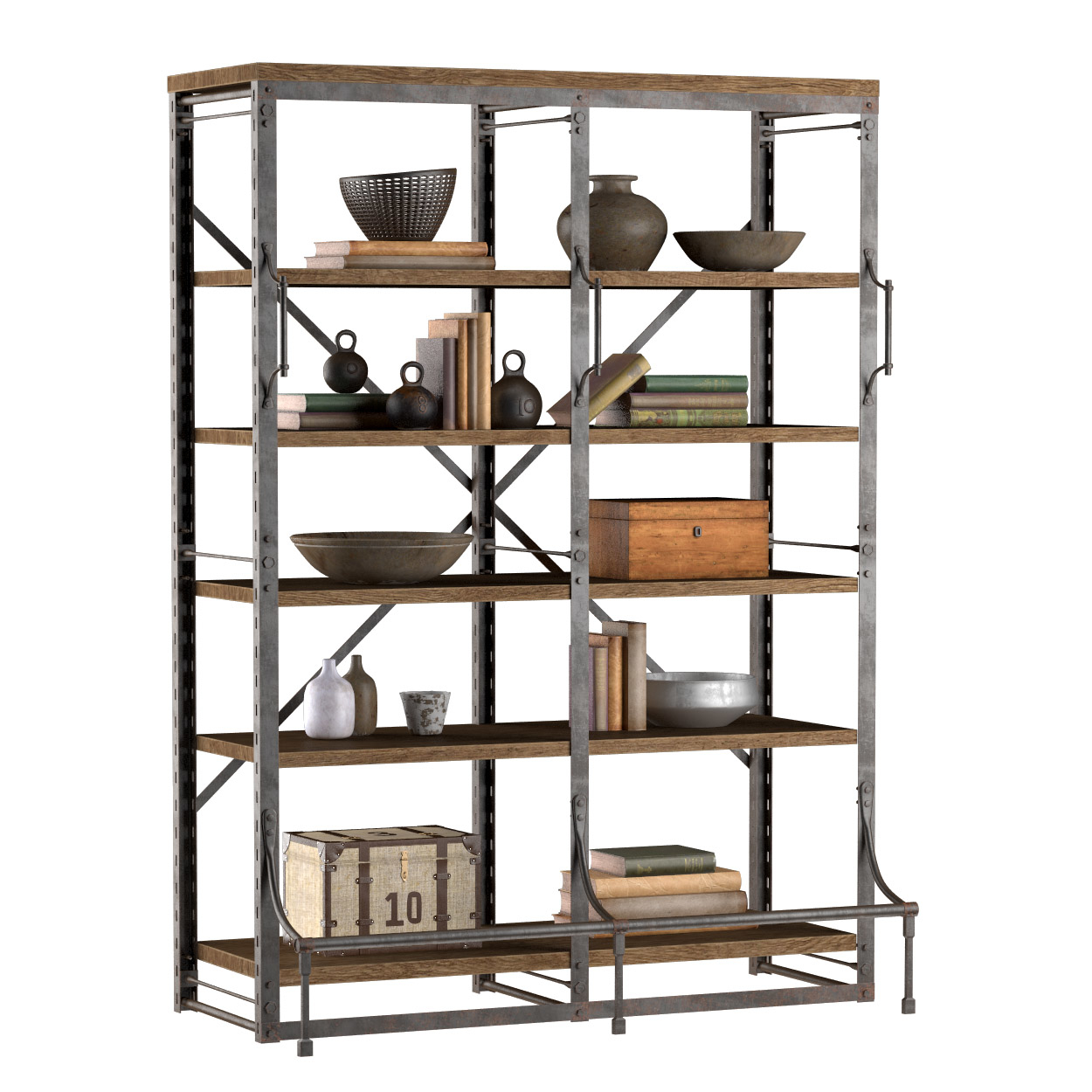 French Library Double Bookcase