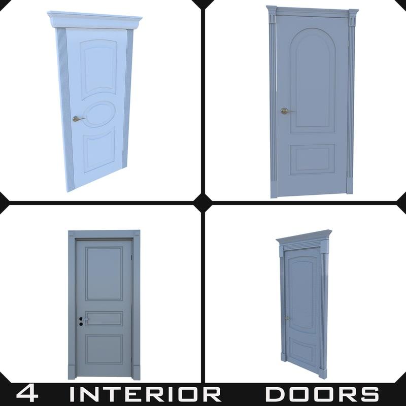 4 interior doors 3d ma