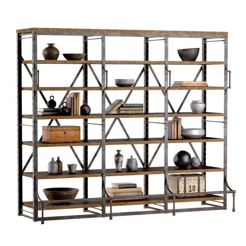 french library wide rack 3d model