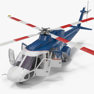 3d sikorsky s76 rigged model