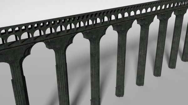 3d model ancient aqueduct section