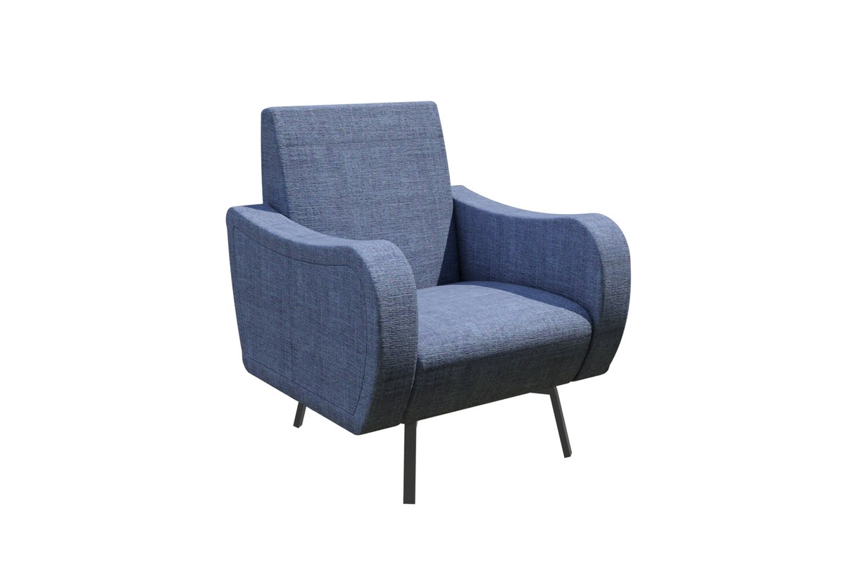 3d model blue fabric armchair