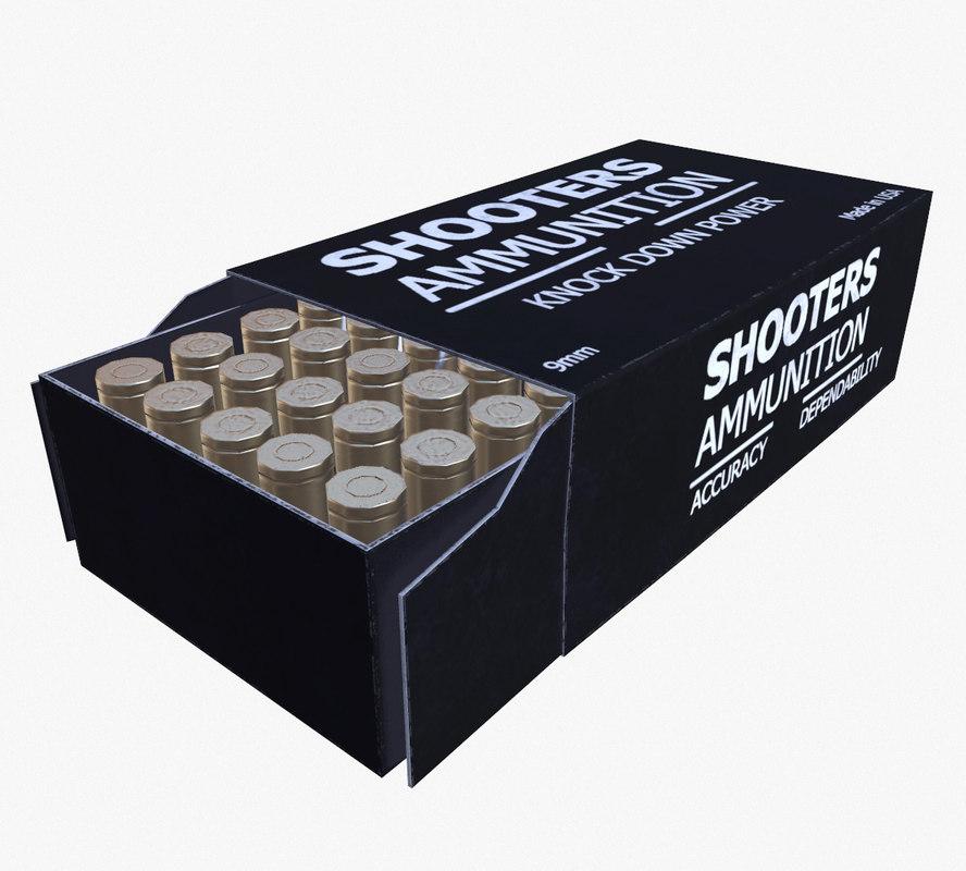 3d model ready 9mm ammo box