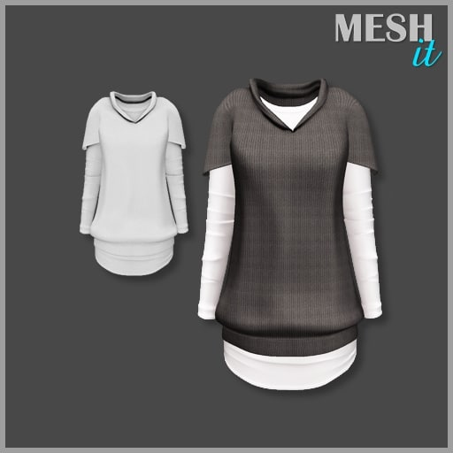 sweater brown white 3d model