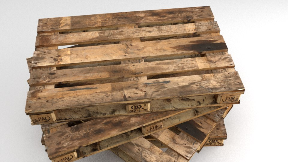 3d obj wooden pallet