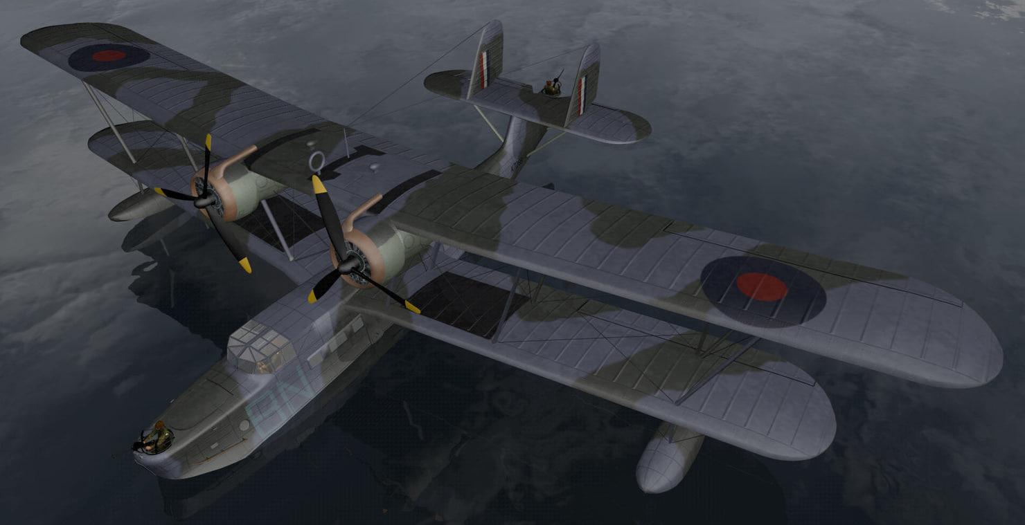 3d plane supermarine stranraer mk-1 model
