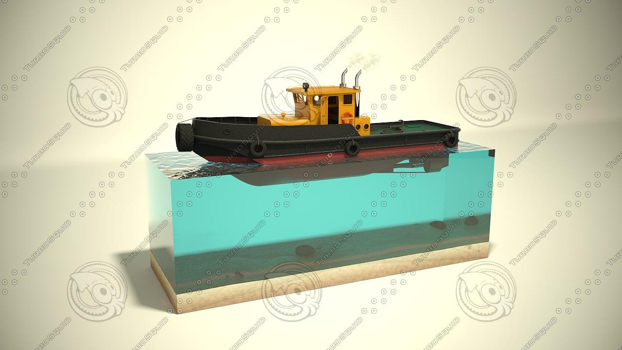 river tugboat c4d