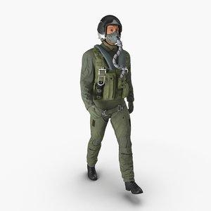 military jet fighter pilot 3d model