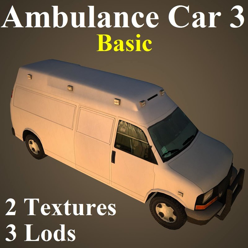 ambulance car basic 3d max