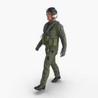 Military Jet Fighter Pilot Walking Pose 3D Model