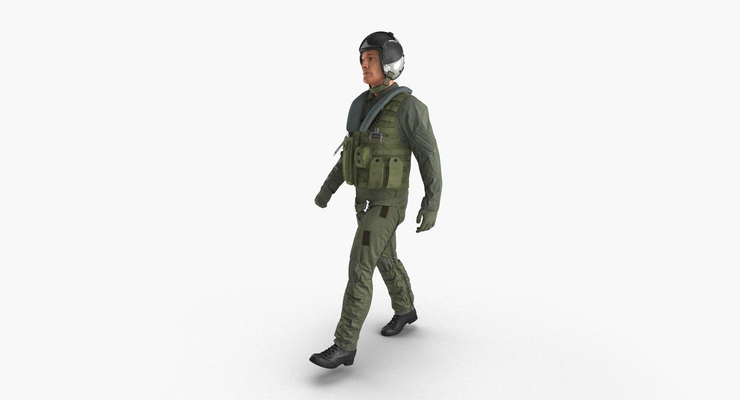 3d model military jet fighter pilot