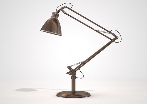 vintage copper desk lamp c4d
