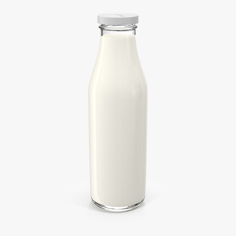 milk half gallon glass bottle 3d c4d