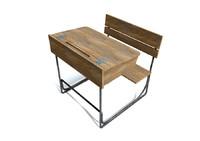3d model vintage school desk