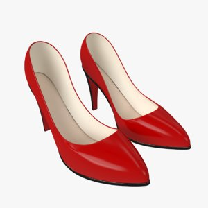 3d model shoe heels classic red