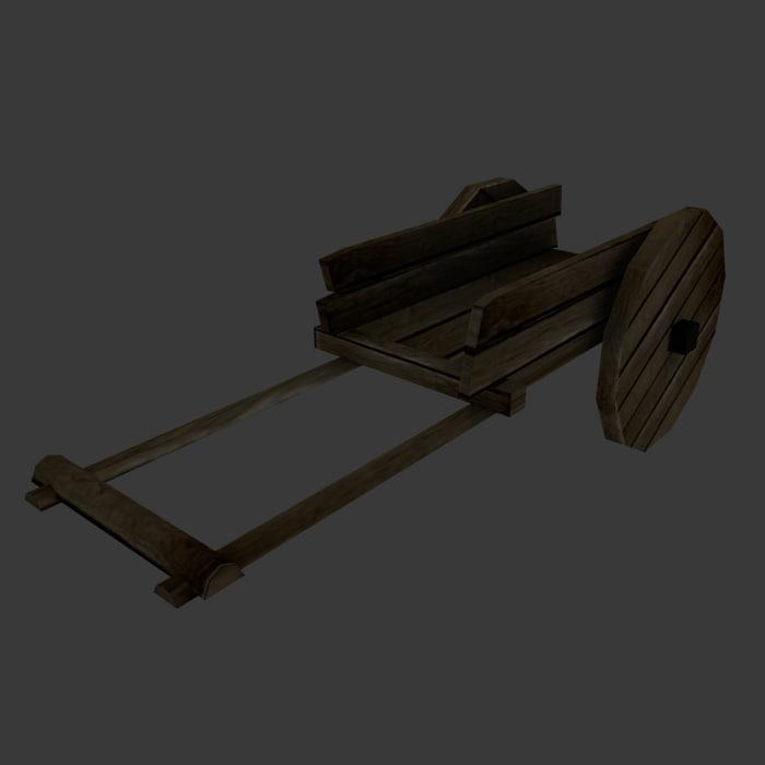 3d model medieval old cart