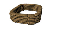 3d model of sandbag fort