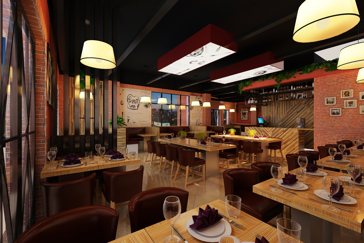 Interior Restaurant Model. By 3darch1112. Restaurant Interior 3d Max