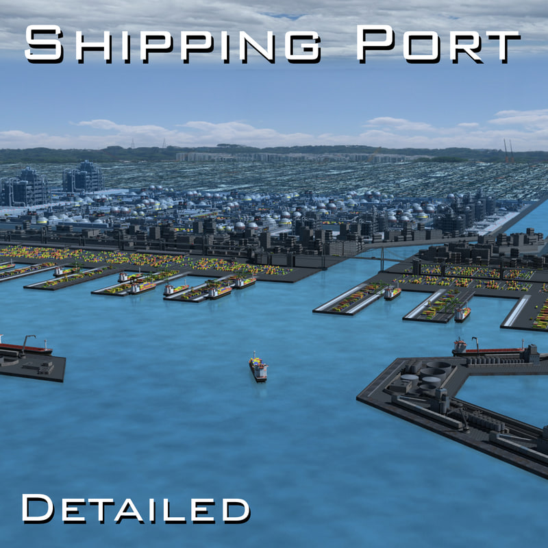 harbour shipping port seaport 3d model