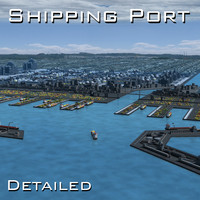 harbour shipping port seaport 3d model
