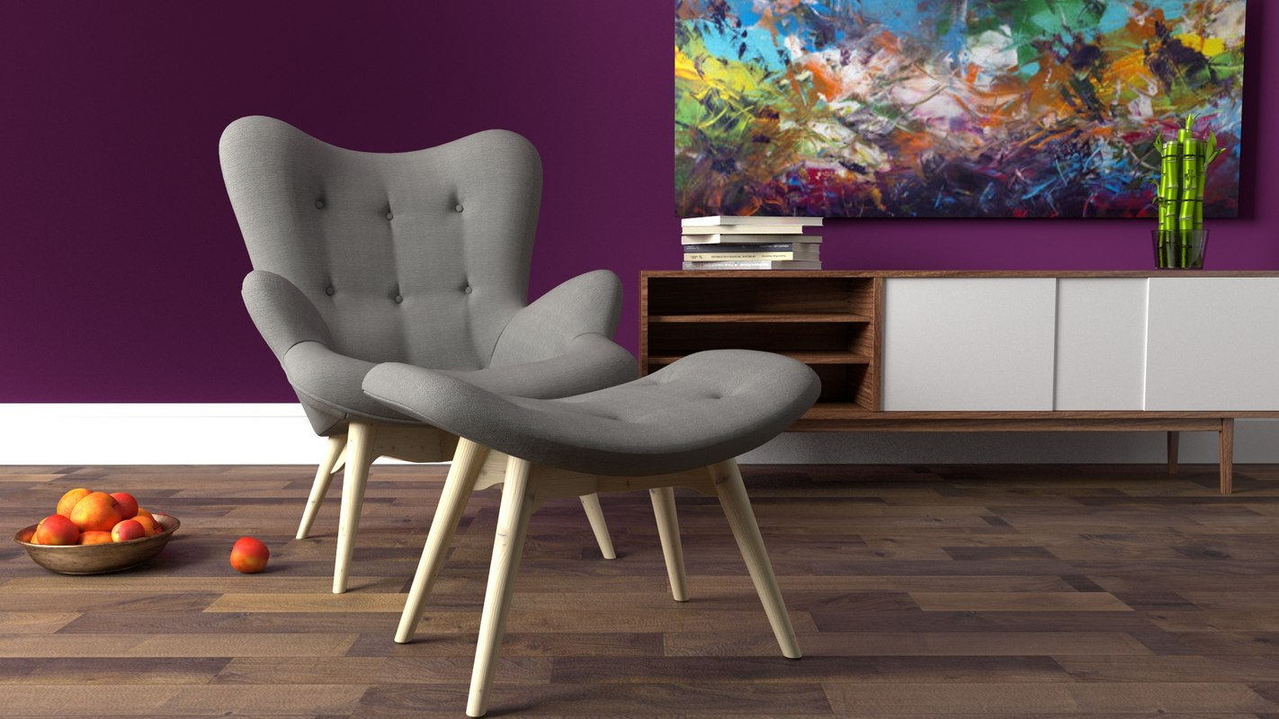 3d model lounge chair rendered blender