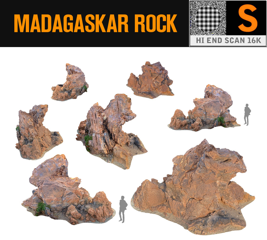 3d model madagascar red rock 16k