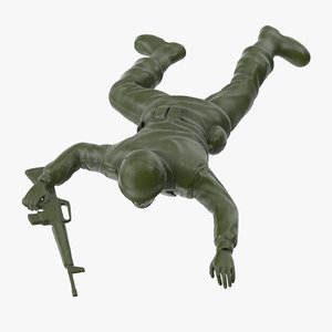 3d plastic toy soldier crawling model