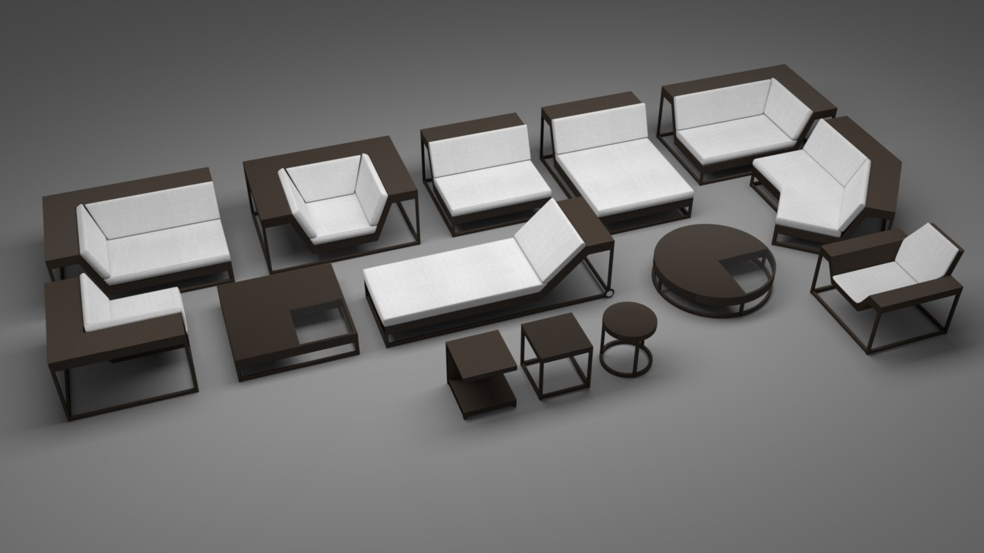 outdoor furniture set 3d blend