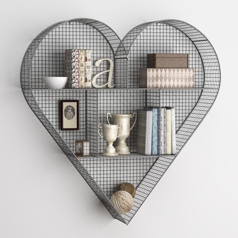 shelf heart zinc 3d max
