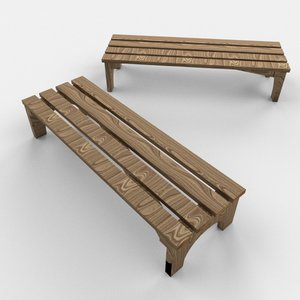 wooden mini bench 3d obj