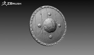 3d shield zbrush ztl model